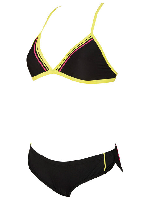 arena Sporty 2 Triangle Swimsuit Women black/soft green/fresia rose